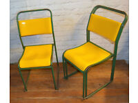 40 available yellow stacking vintage chairs antique dining kitchen industrial restaurant retro cafe