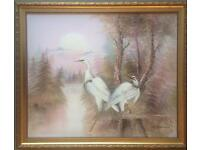 Painting of two herons at sunrise
