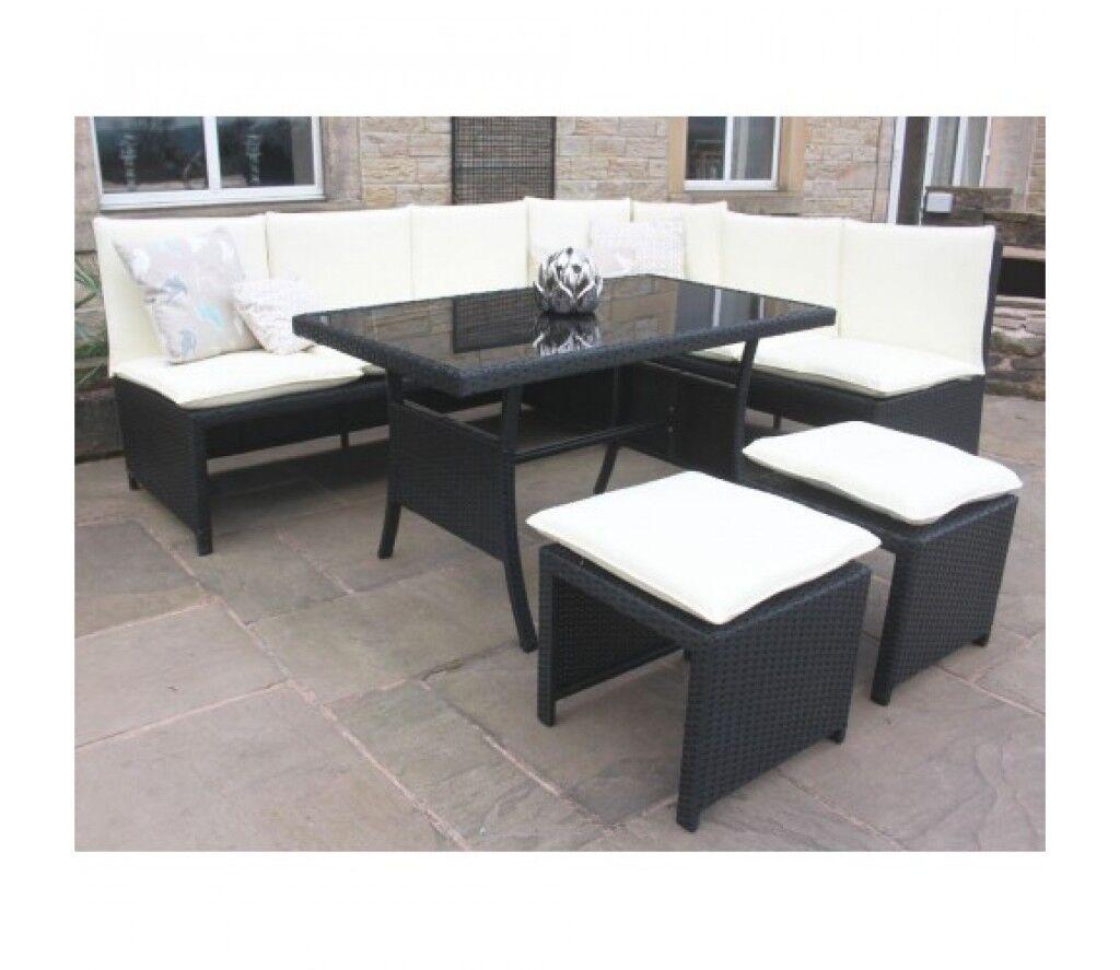Weatherproof Black Rattan Corner Sofa Dining Set With Table