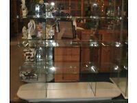 Retail Shop Double Sided Glass Gondola Shelving Shop Glass Display Unit 1600mm x 1400mm x 510mm
