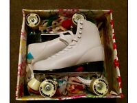 White retro 4 wheel roller skates