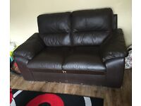 Faux 2 seater leather sofa