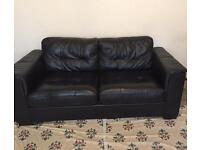 *New Condition* Large 3 seater sofa black faux leather