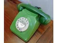 VINTAGE 1971 GPO 746 TELEPHONE GREEN ROTARY ALL ORIGINAL PHONE