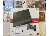 SONY PLAYSTATION SLIM PS3 BOXED CONSOLE 160GB GAMES COD BLACK OPS BATTLEFIELD GT5 UNCHARTE PS4 XBOX