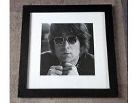 John Lennon The Beatles Framed Picture - Black Wood Frame, Glass Front 47x47cm