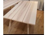Large stylish wood dining table with 4 chairs
