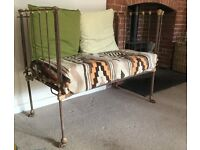 Original Victorian Iron Cot / Upcycled Sofa