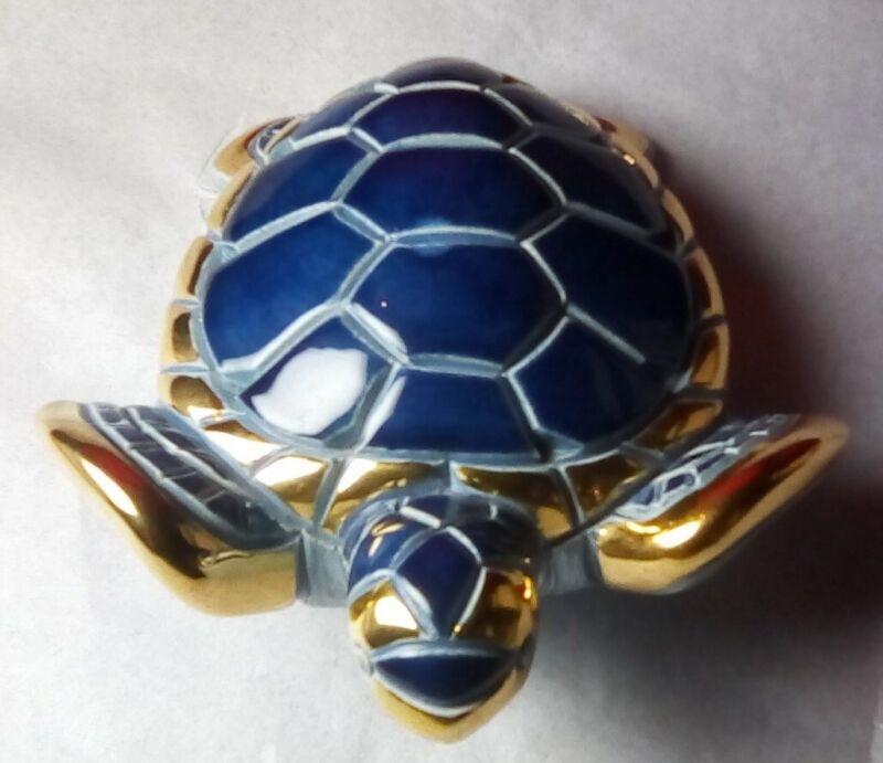 Rinconada Blue Turtle Hand made Ceramic Figurine Uruguay Very Good Condition!