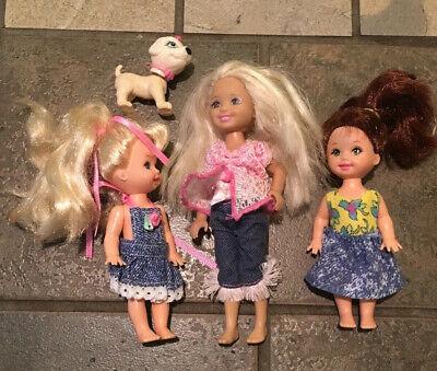 Barbie Kids and Puppy 3 Mattel Children Girls in Denim Outfit & dog - COOL LOT