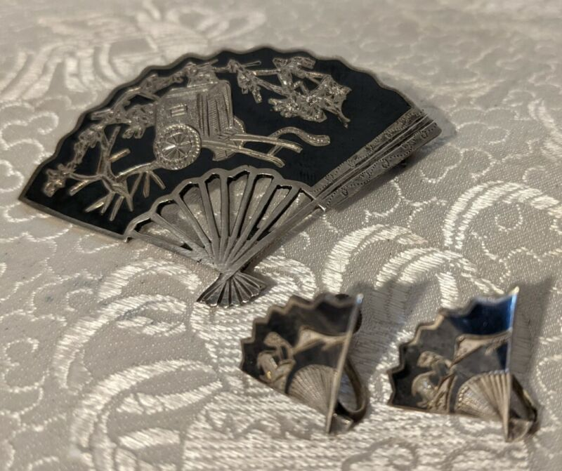 Vintage Niello Sterling Silver Engraved Matching Fan Brooch & Clip Earrings Siam