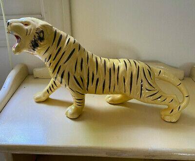 Vintage Art Deco Painted Ceramic Tiger