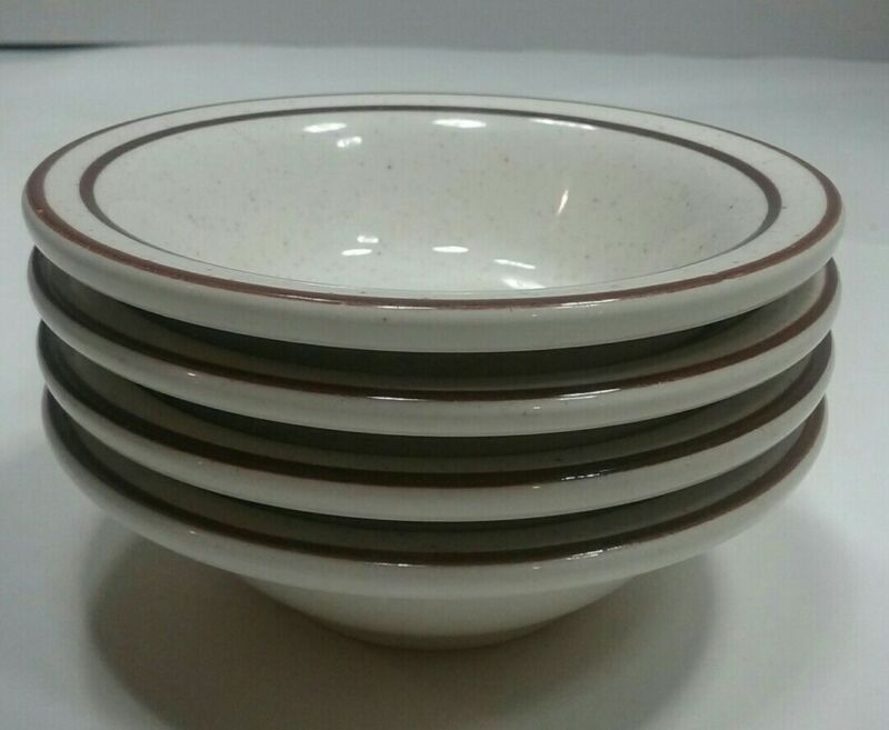 """4 Buffalo China Restaurant Ware Dessert  Bowls Speckled With Brown Trim 4.5"""""""