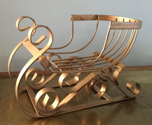 "Iron Metalware Santa Sled Sleigh Basket Ornate Holiday 12"" Display Tabletop"