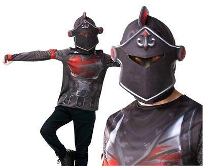 Child Official FORTNITE Black Knight Top +Snood Fancy Dress Costume Halloween UK