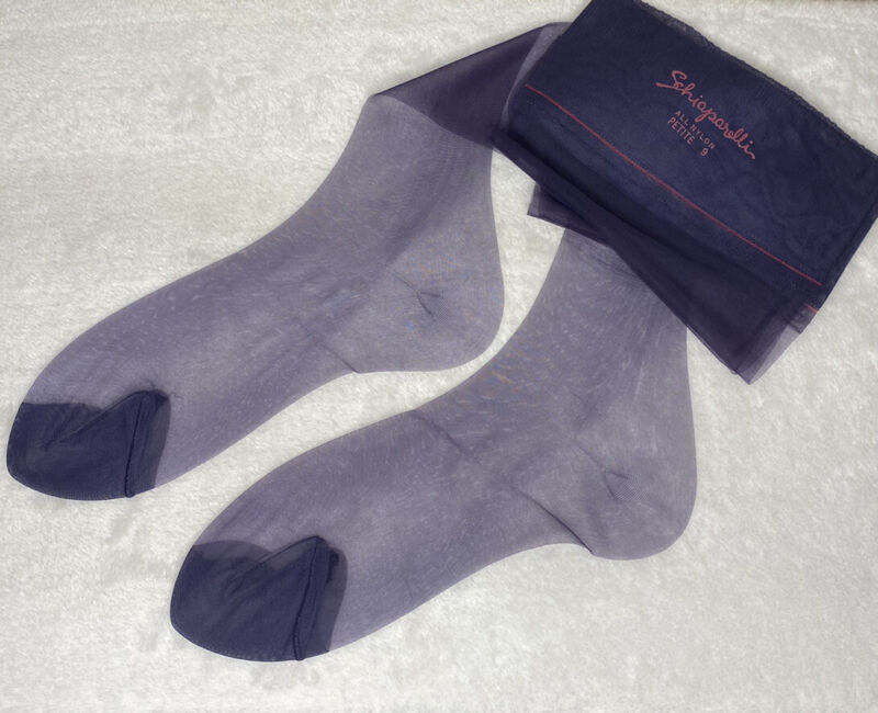 (3) VTG Schiaparelli Seamless Naturelles Demi-Toe NAVY Nylon Stockings PETITE 9