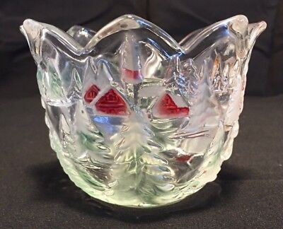 Candle Holder Heavy Glass Frosted Christmas Tree, Cabin and Girl Multi Color