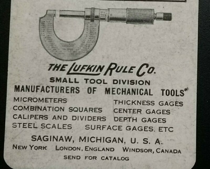 Lufkin Rule Co. Small Tool Division Celluloid Decimal Equivalents Chart c1930s