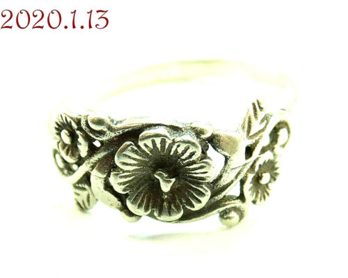Very Detailed Dainty Floral Flower Sterling Silver 925 Band Ring Size 8