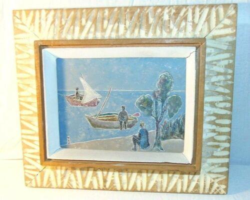 Vintage FRANTZ LAMOTHE (b. 1961) Oil on Masonite Haitian Boat Beach Painting