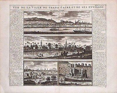 Antique map, Vue de la Ville du Grand Caire et de ses environs