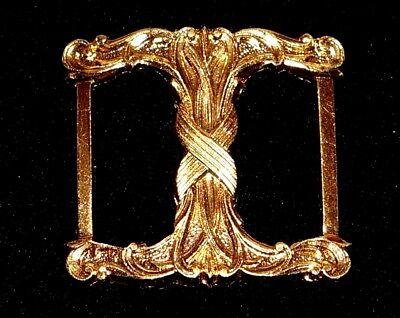 VINTAGE ART NOUVEA REPOUSSE GOLD PL  BELT BUCKLE 35 x 35mm  for belt 25mm wide