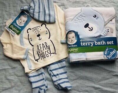 Baby boy lot Gerber bear NEW! Outfit set lot towels wash cloths ORGANIC newborn Gerber Baby Wash