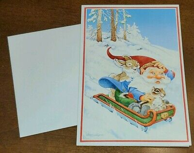 Alton Langford for Hallmark Cards, Christmas Card, Gnome and bunny on sled ()