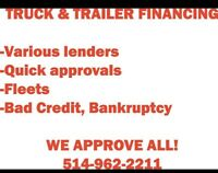 TRUCK, TRAILER AND HEAVY EQUIPMENT FINANCING!