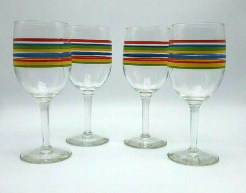 Set of 4 Libbey Mambo Fiesta Wine Water Stemmed Glasses Goblets w/ Stripes