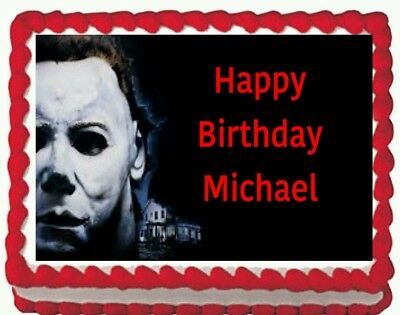 Halloween Michael Myers Birthday Party Edible Cake Topper 1/4 sheet](Michaels Cake Toppers)
