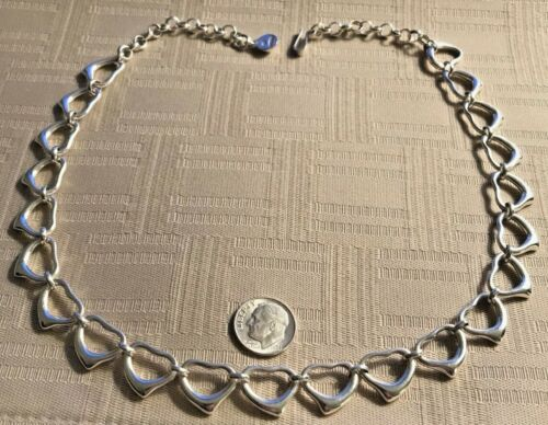 ILARIA VINTAGE STERLING SILVER NECKLACE FULL OF HEARTS SIGNED 42.0 g