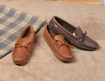 Mens Cowhide Leather Canoe Sole Moccasins Leather Sole Cushion Insoles Size 6-13 ()