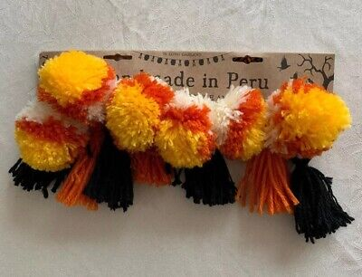 """Candy Corn"" Poms Tassles Halloween Fall garland wool ball Handmade In Peru 7-ft"