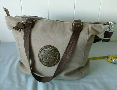 Kipling Tote Crossbody Bag, Grey Body/ Brown Trim, Med/Large  New