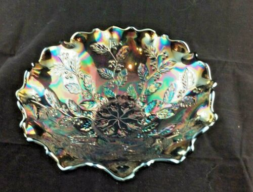 "1911 Fenton Carnival RED Radium Holly Bowl 5 5/8"" Raised Pattern Gorgeous Color"