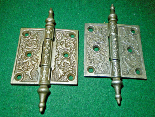 "ONE of PAIR VINTAGE EASTLAKE HINGES  3""  X 3""  STEEPLE TOP - BEAUTIFUL  (14285)"