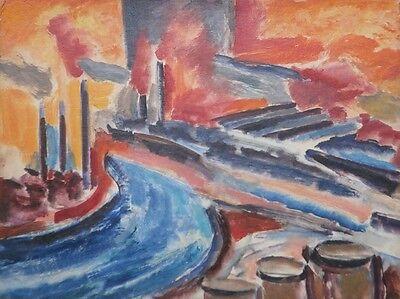 Cauldron of Industry-River,Smoke Stacks, Factories O/B-50s-Israel Louis Winarsky