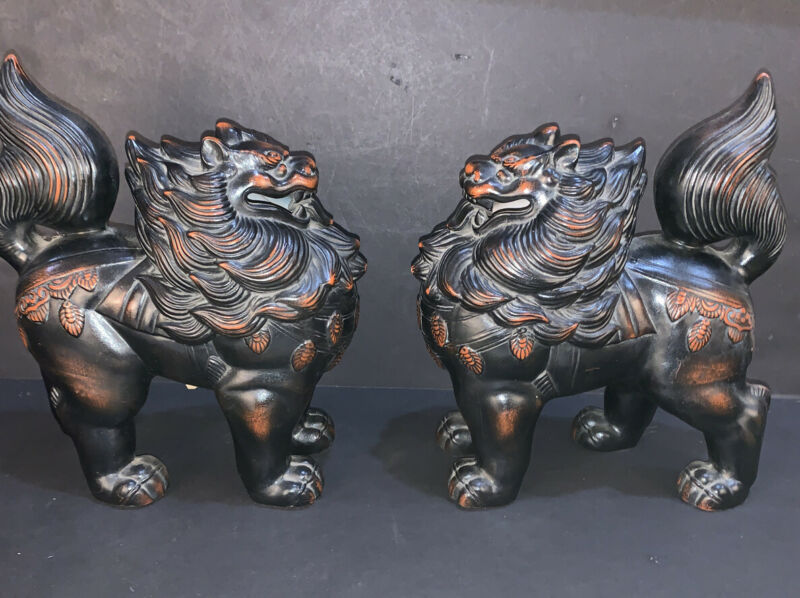 Matching Pair Of Vintage Fitz & Floyd Japanese Ceramic Vernissage Foo Lion Dogs