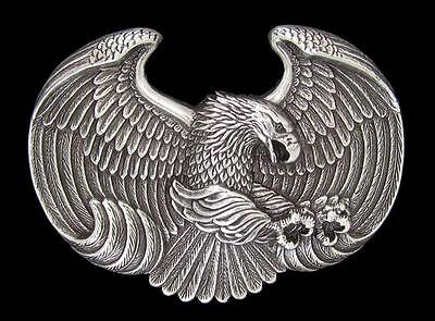 Nocona Western Mens Belt Buckle  Eagle Silver 37658