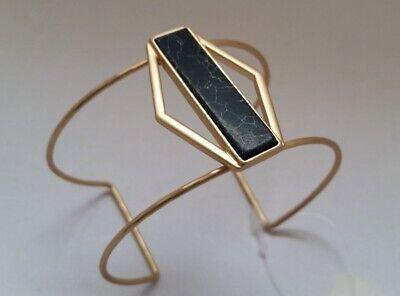 Matte Gold-tone Metal cuff Geometrical Bracelet with Black stone/bar N19-3/22