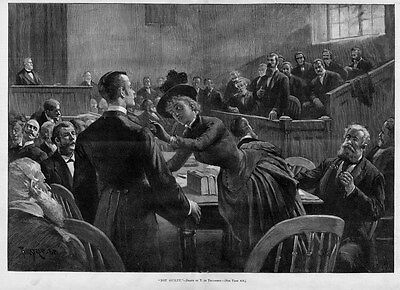 LAWYER JUDGE COURTROOM NOT GUILTY JURY WITNESS 1888 ANTIQUE ENGRAVING LAWYER