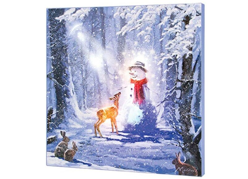Lighted Musical Magic Forest Snowman Canvas LED Light Up Picture Wall Art Decor
