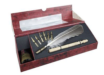 Authentic Models Plume Feather Pen Caligraphy Writing Set with Ink & 7 Tips