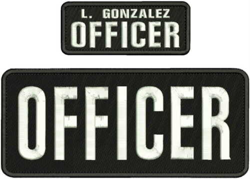 OFFICER  EMBROIDERY PATCH 4X10 AND 2X5 HOOK  ON BACK  BLK/WHITE