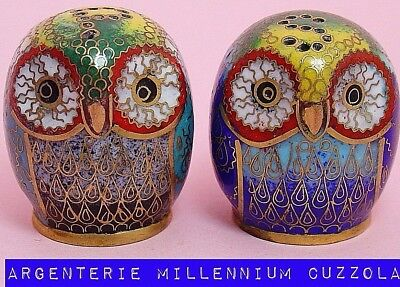 Owl Cloisonne Owl Good Luck Charm Salt Pepper Owl Cloisonne Lucky Little Owl