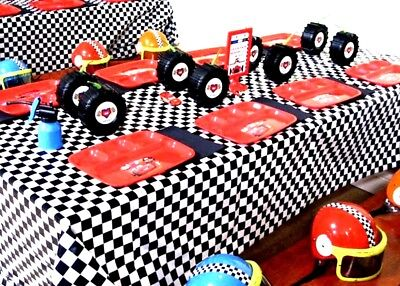 Black And White Party Decorations (Plastic Table Cover Party Decoration BLACK/WHITE CHECKER Cars)