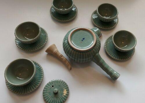 Vintage Korean Signed Crackle Celadon Porcelain 13 pc Side Handle Tea Pot