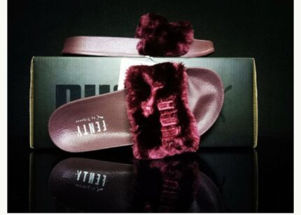 056cd9e34a75 Womens Puma - Rihanna Fenty Fur Slide Wine
