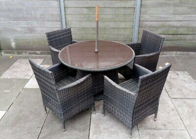 Garden Furniture - Rattan Garden Furniture 4 Seater Set With Table & Chairs - Grey